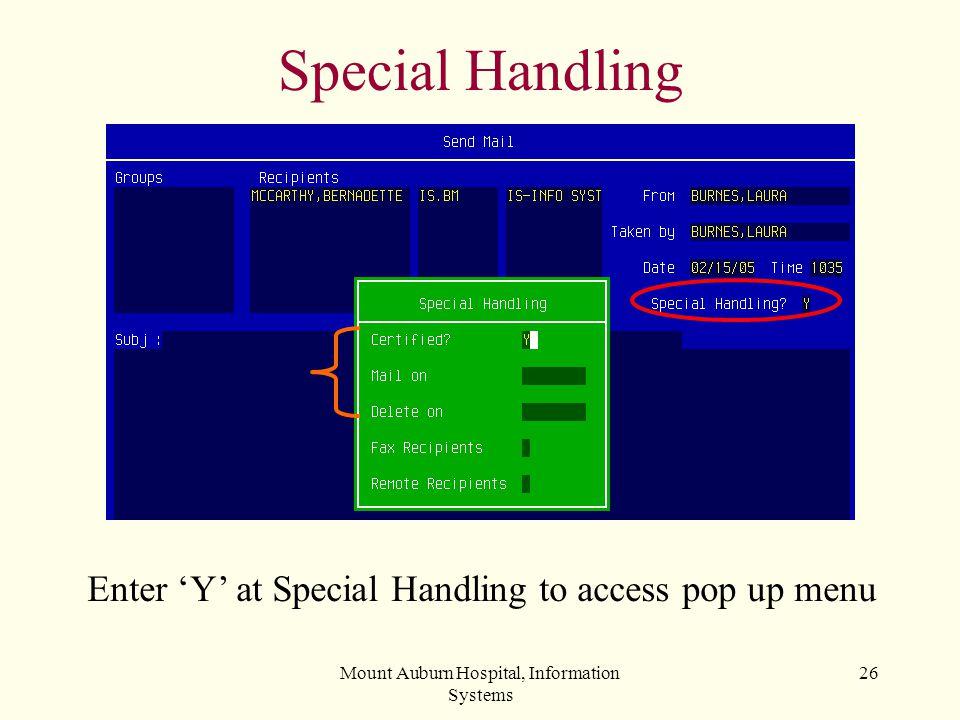 Special Handling Enter 'Y' at Special Handling to access pop up menu