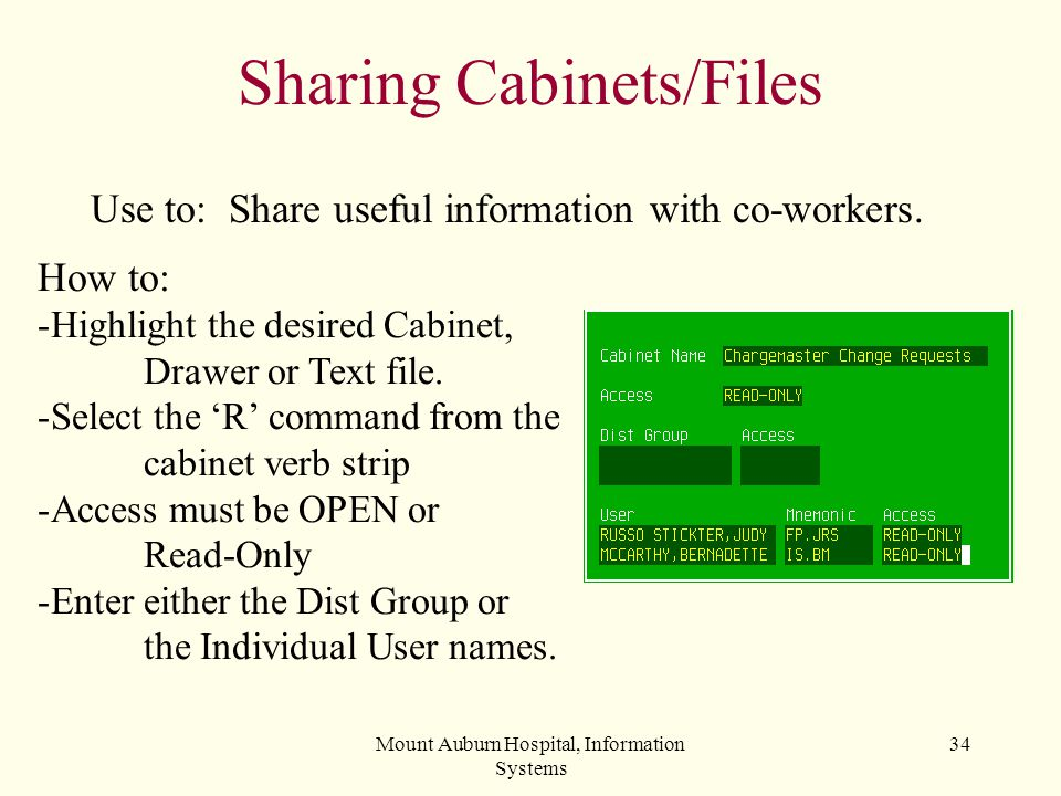 Sharing Cabinets/Files