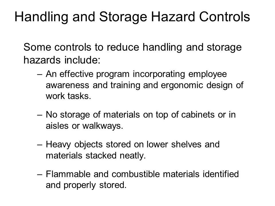 Handling and Storage Hazard Controls