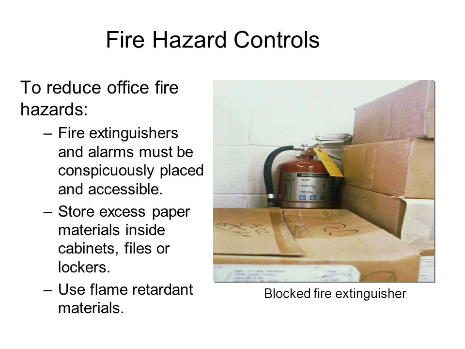 Blocked fire extinguisher