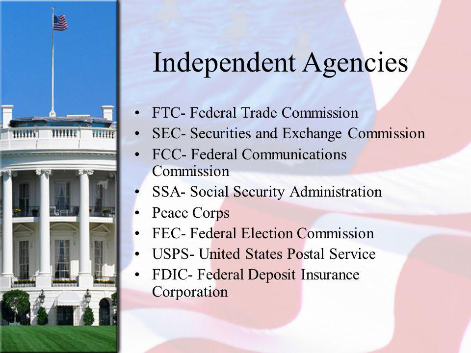 Independent Agencies FTC- Federal Trade Commission
