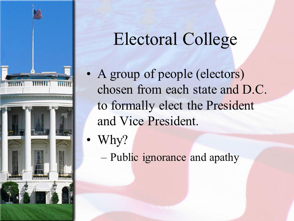 Electoral College A group of people (electors) chosen from each state and D.C. to formally elect the President and Vice President.