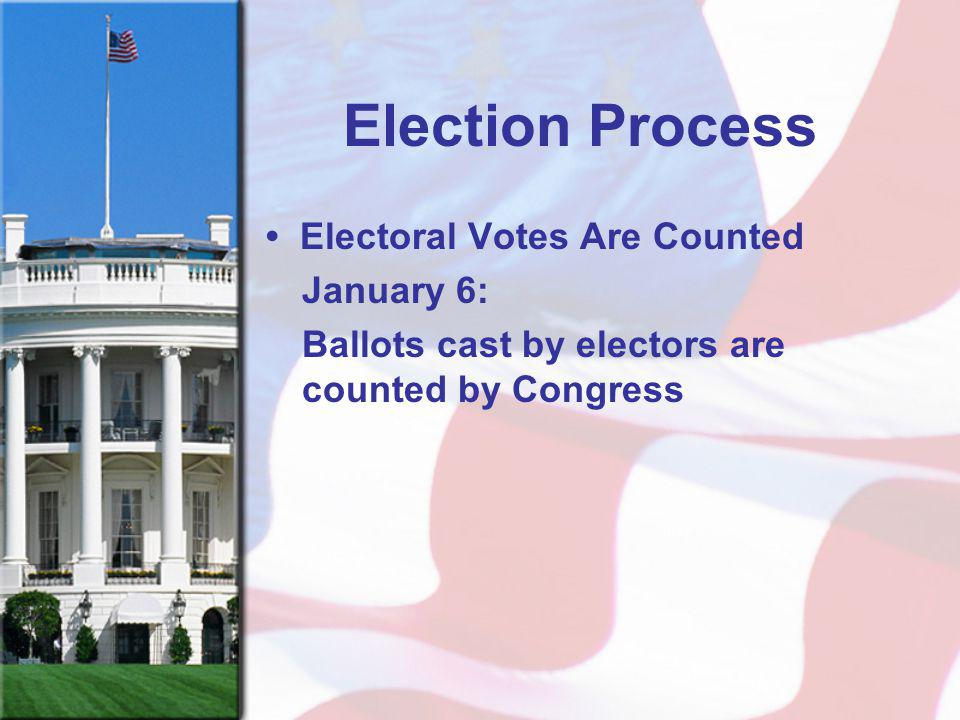 Election Process • Electoral Votes Are Counted January 6: