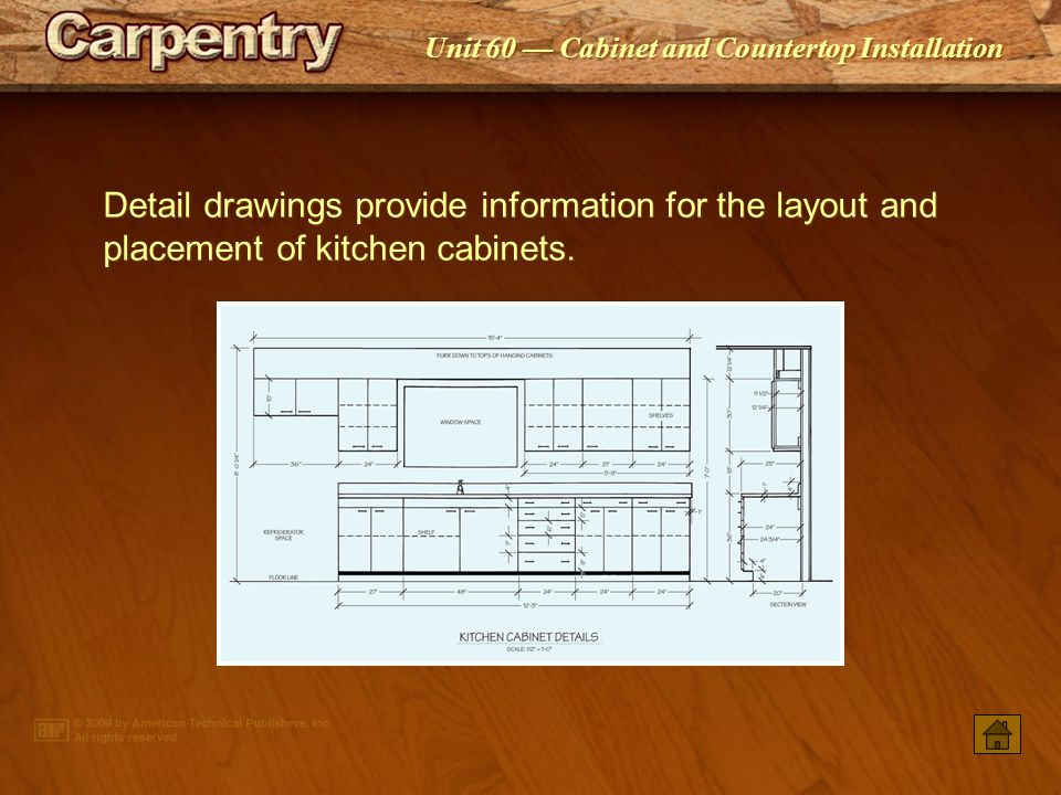Detail drawings provide information for the layout and placement of kitchen cabinets.