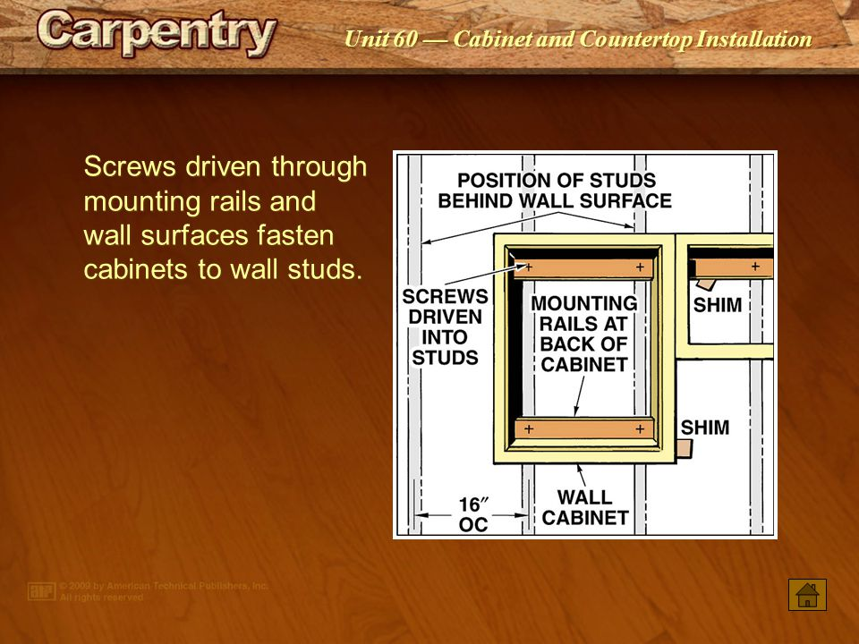 Screws driven through mounting rails and wall surfaces fasten cabinets to wall studs.