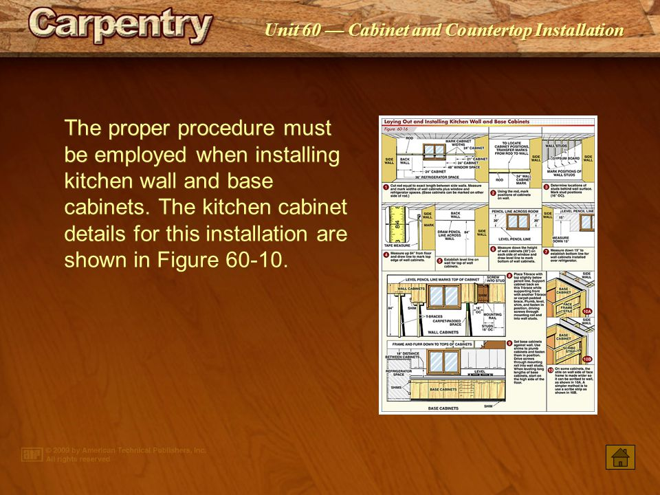 The proper procedure must be employed when installing kitchen wall and base cabinets. The kitchen cabinet details for this installation are shown in Figure 60-10.