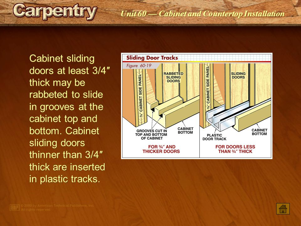 Cabinet sliding doors at least 3/4″ thick may be rabbeted to slide in grooves at the cabinet top and bottom. Cabinet sliding doors thinner than 3/4″ thick are inserted in plastic tracks.