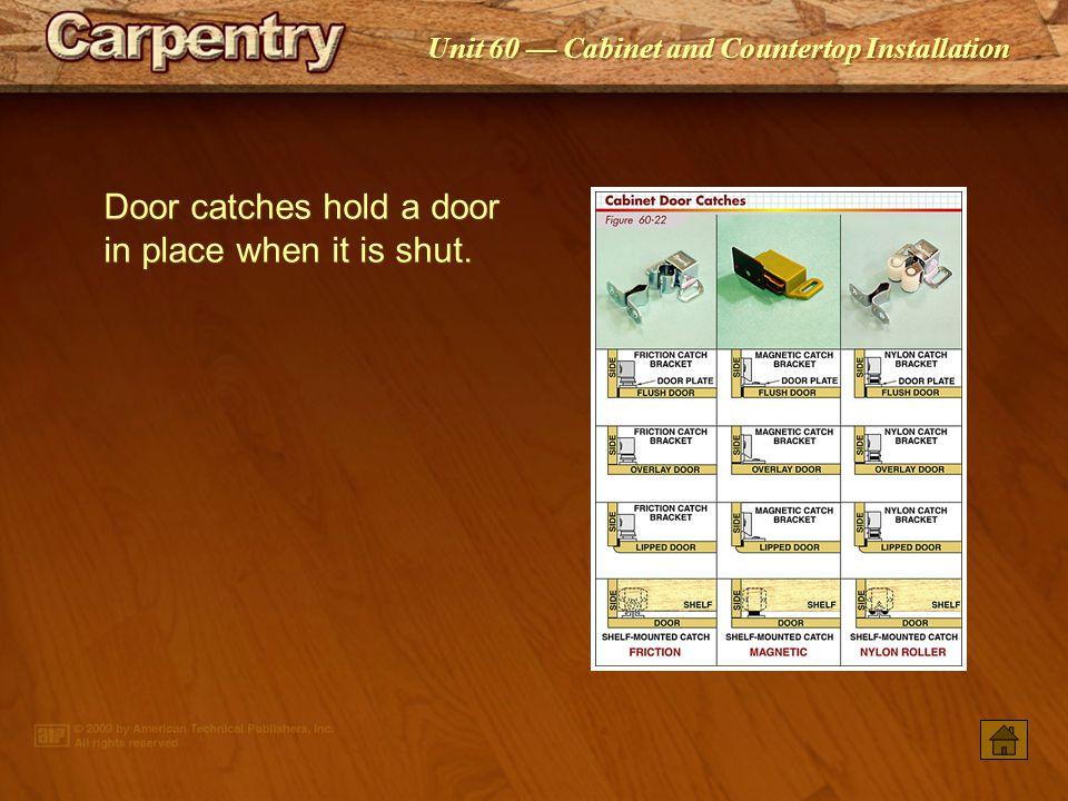 Door catches hold a door in place when it is shut.