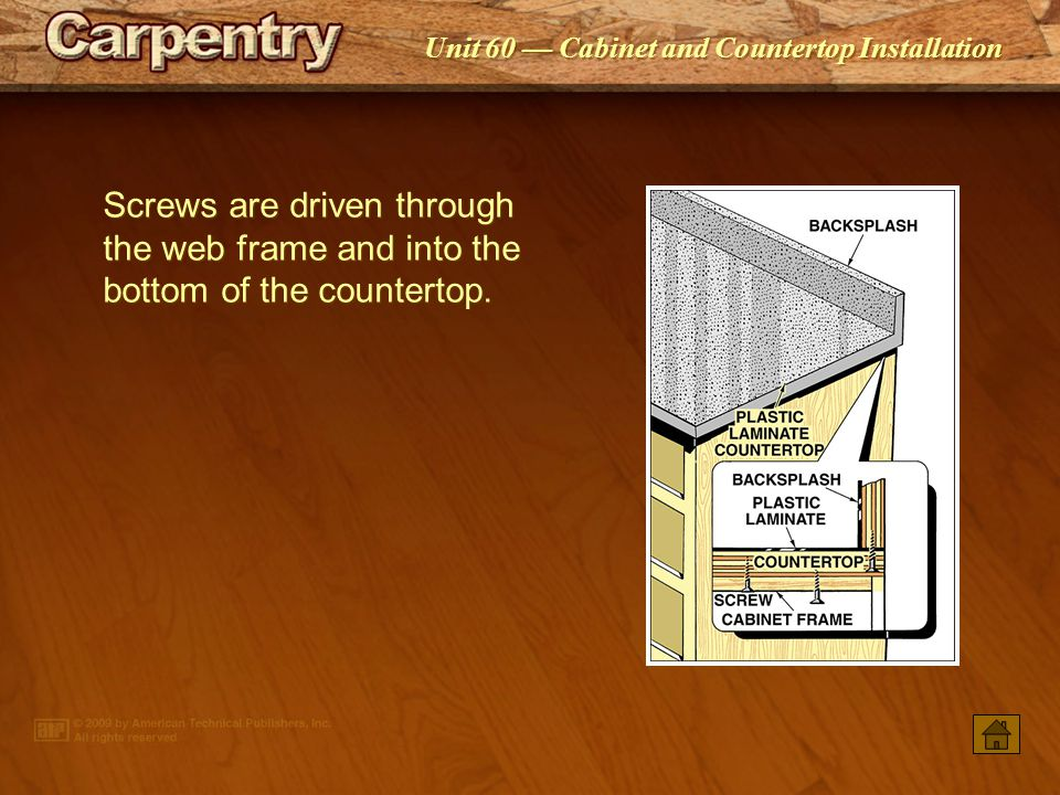 Screws are driven through the web frame and into the bottom of the countertop.