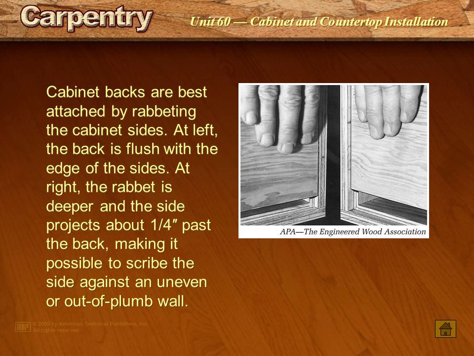 Cabinet backs are best attached by rabbeting the cabinet sides