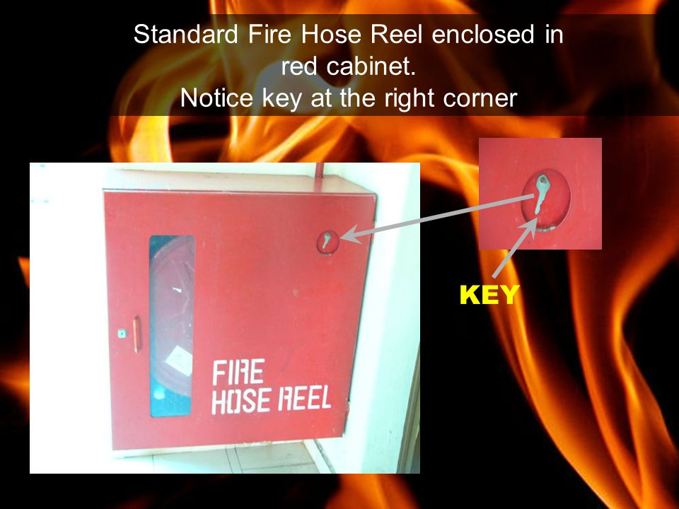 Standard Fire Hose Reel enclosed in red cabinet.