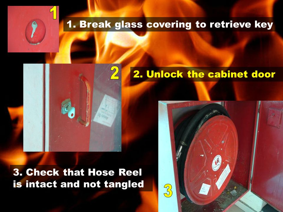 1. Break glass covering to retrieve key