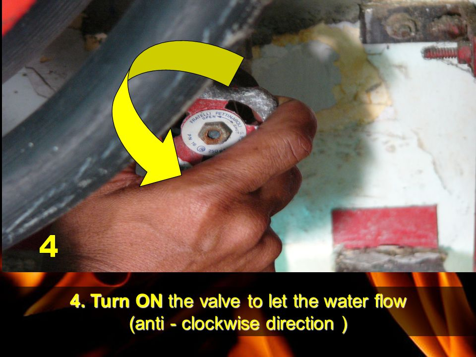 4. Turn ON the valve to let the water flow