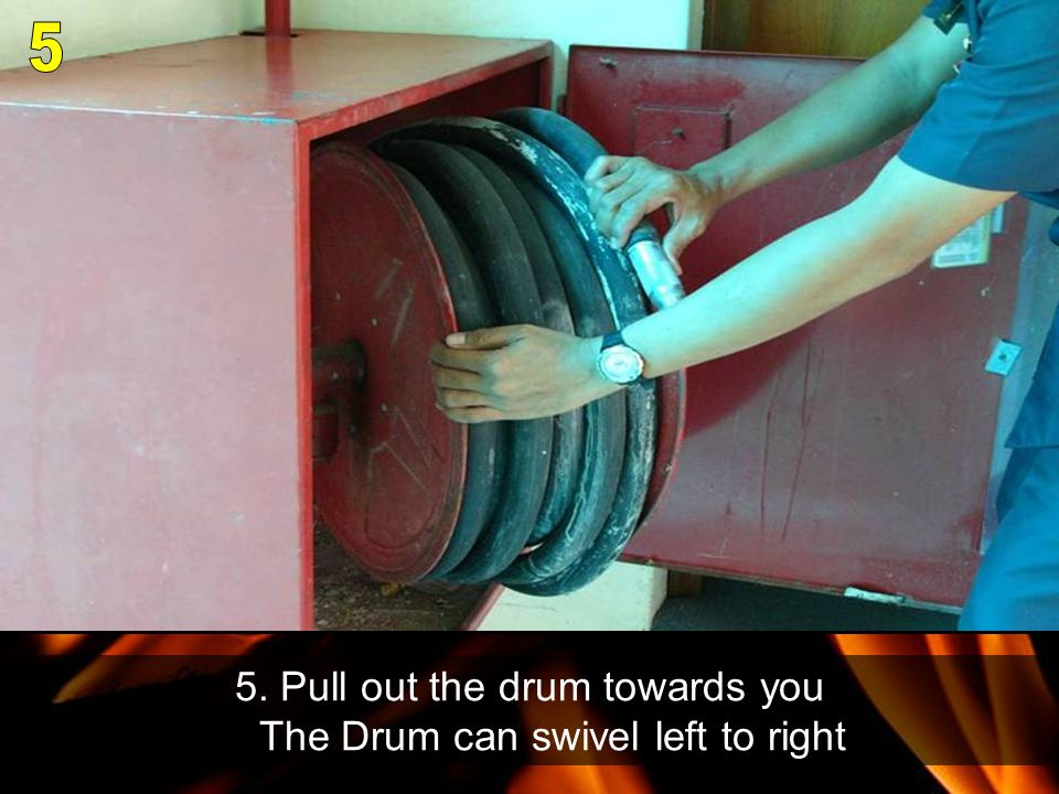 5. Pull out the drum towards you The Drum can swivel left to right