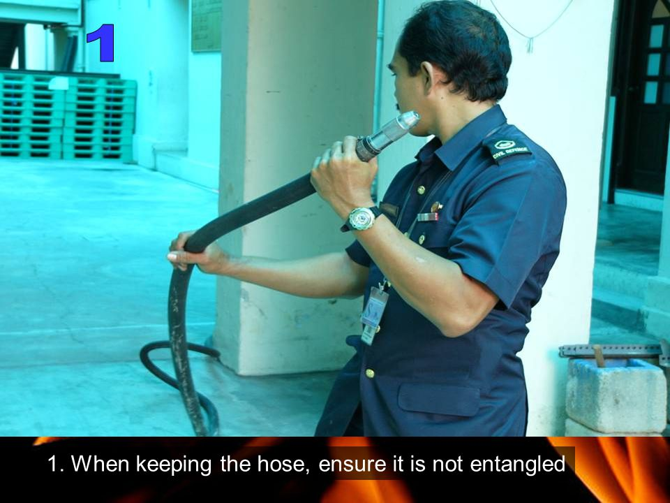 1 1. When keeping the hose, ensure it is not entangled