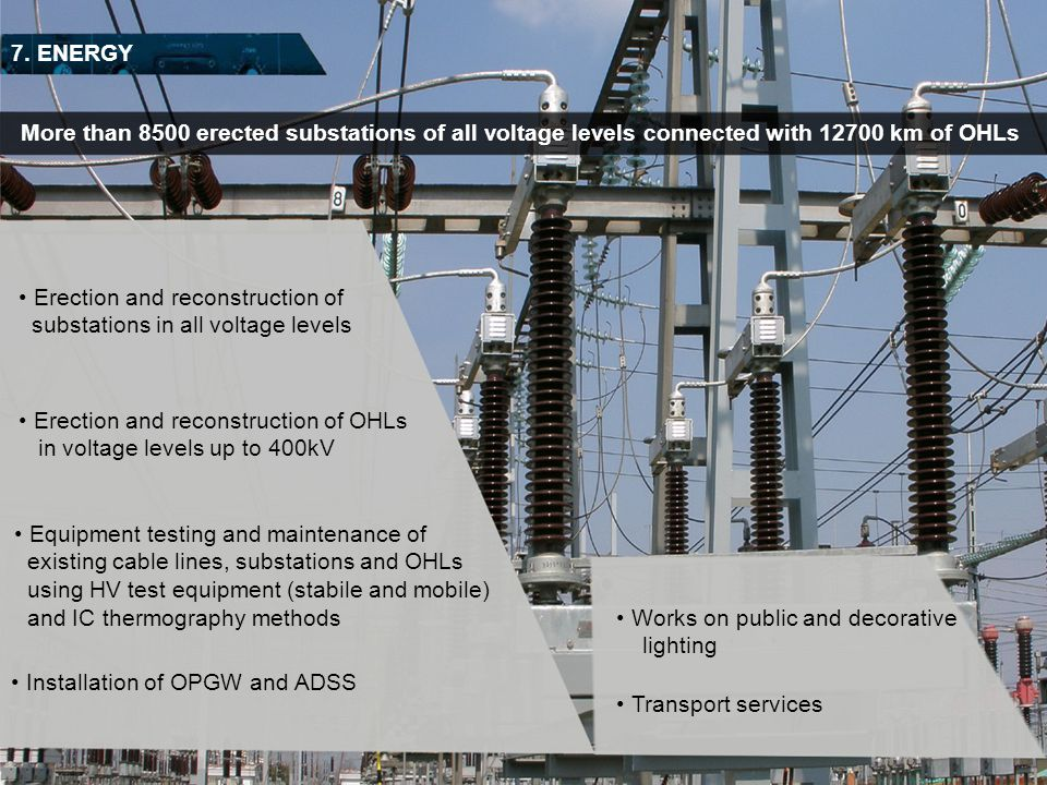 7. ENERGY More than 8500 erected substations of all voltage levels connected with 12700 km of OHLs.