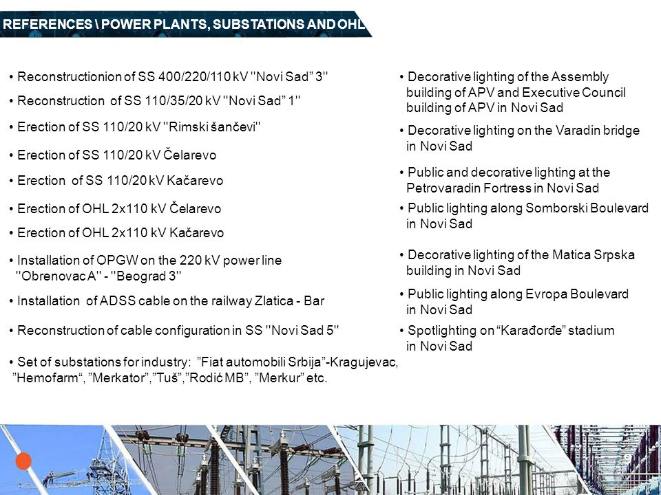 9 REFERENCES \ POWER PLANTS, SUBSTATIONS AND OHL