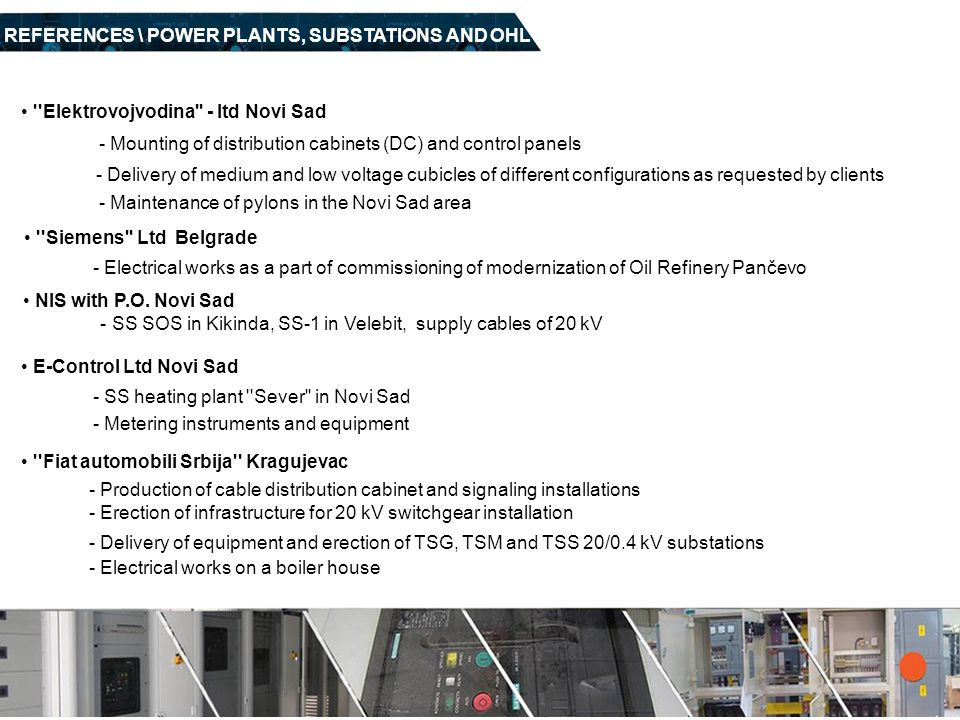 REFERENCES \ POWER PLANTS, SUBSTATIONS AND OHL