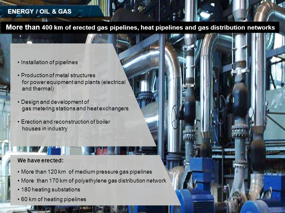 ENERGY / OIL & GAS More than 400 km of erected gas pipelines, heat pipelines and gas distribution networks.