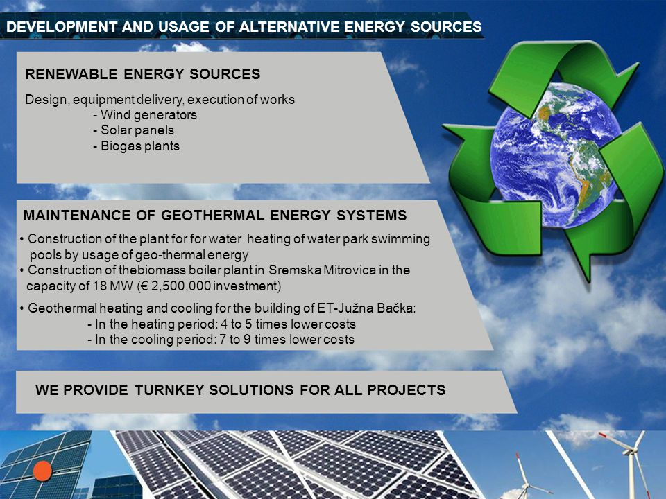 DEVELOPMENT AND USAGE OF ALTERNATIVE ENERGY SOURCES
