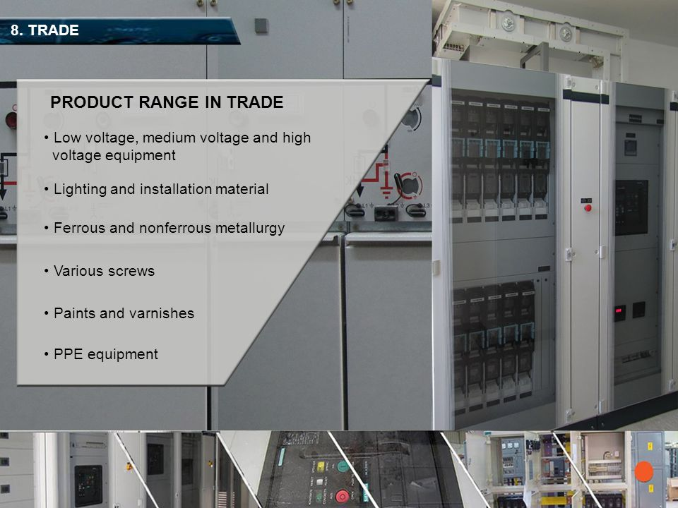 PRODUCT RANGE IN TRADE 8. TRADE Low voltage, medium voltage and high