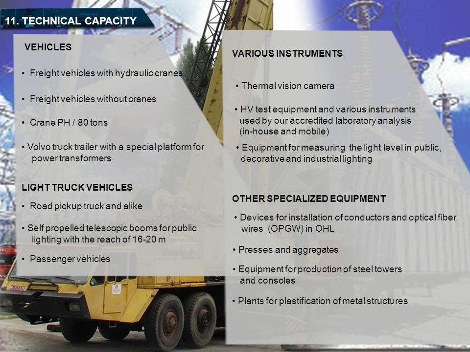 11. TECHNICAL CAPACITY VEHICLES VARIOUS INSTRUMENTS