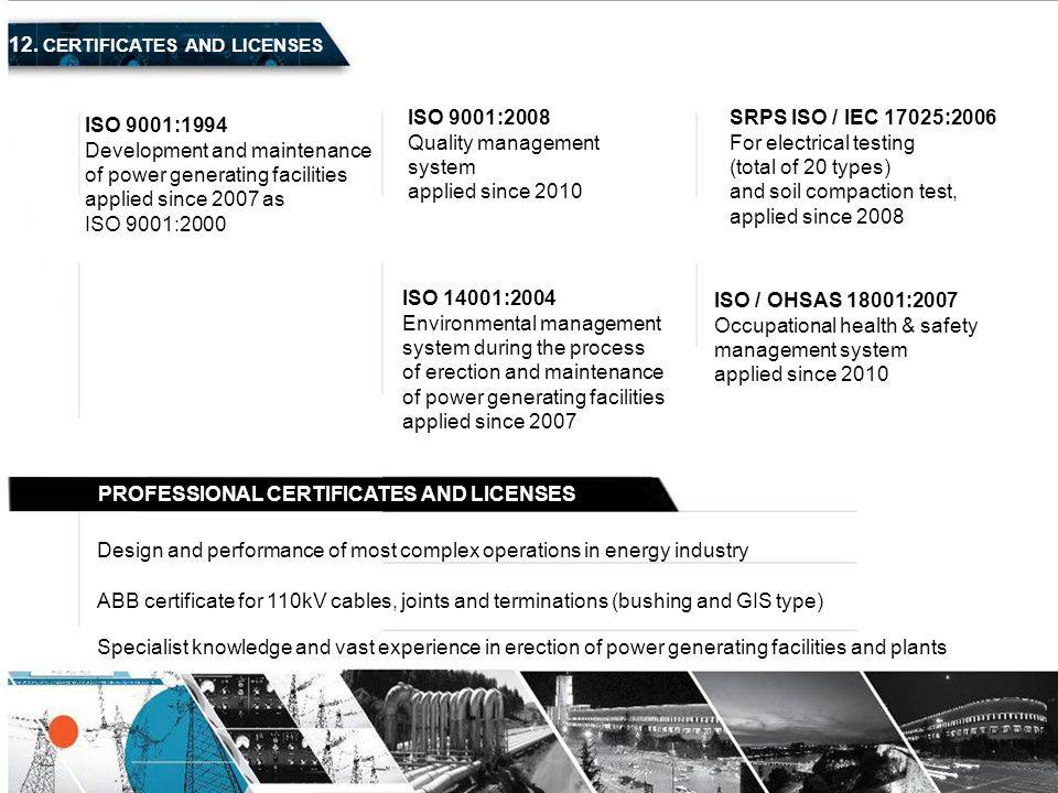 12. CERTIFICATES AND LICENSES