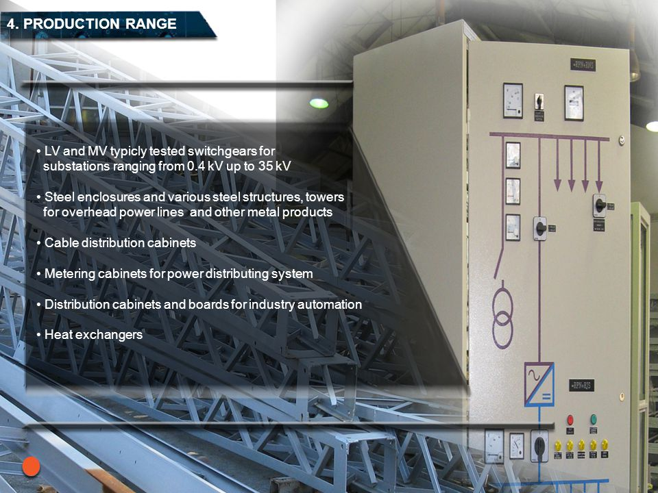 4. PRODUCTION RANGE LV and MV typicly tested switchgears for