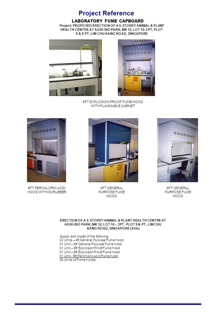 Project Reference LABORATORY FUME CAPBOARD