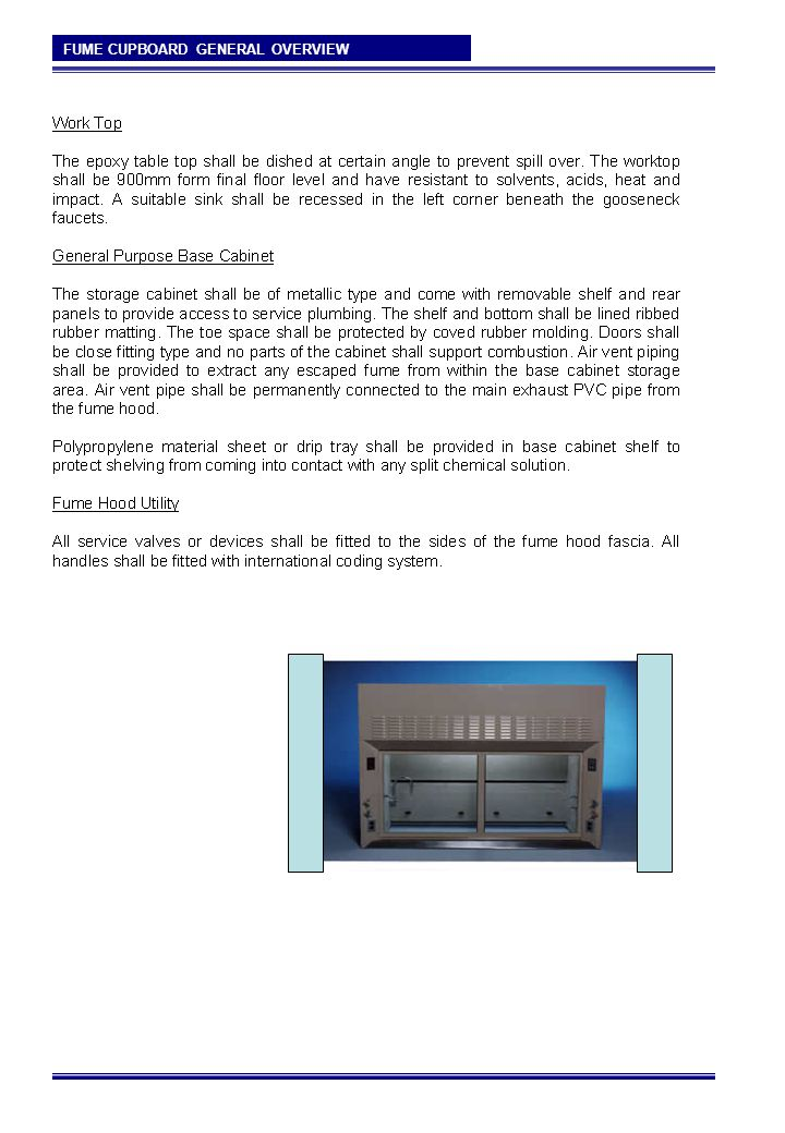 FUME CUPBOARD GENERAL OVERVIEW