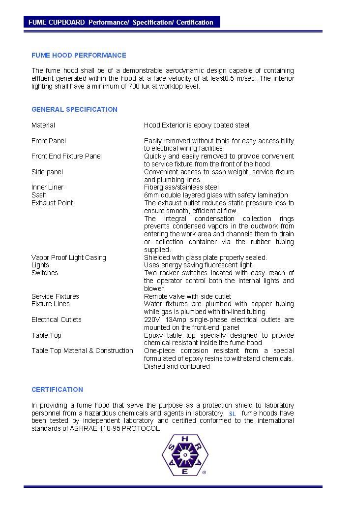 FUME CUPBOARD Performance/ Specification/ Certification