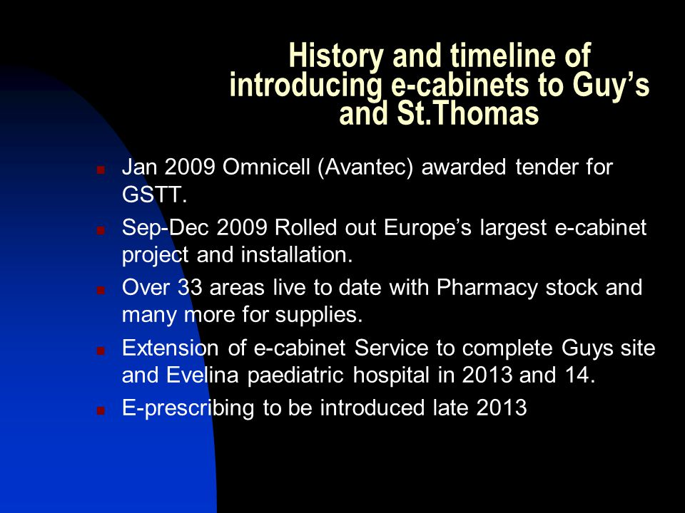 History and timeline of introducing e-cabinets to Guy's and St.Thomas