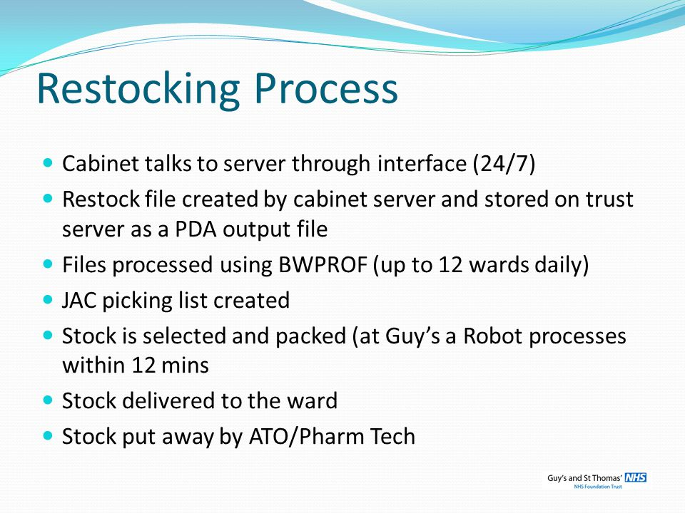 Restocking Process Cabinet talks to server through interface (24/7)