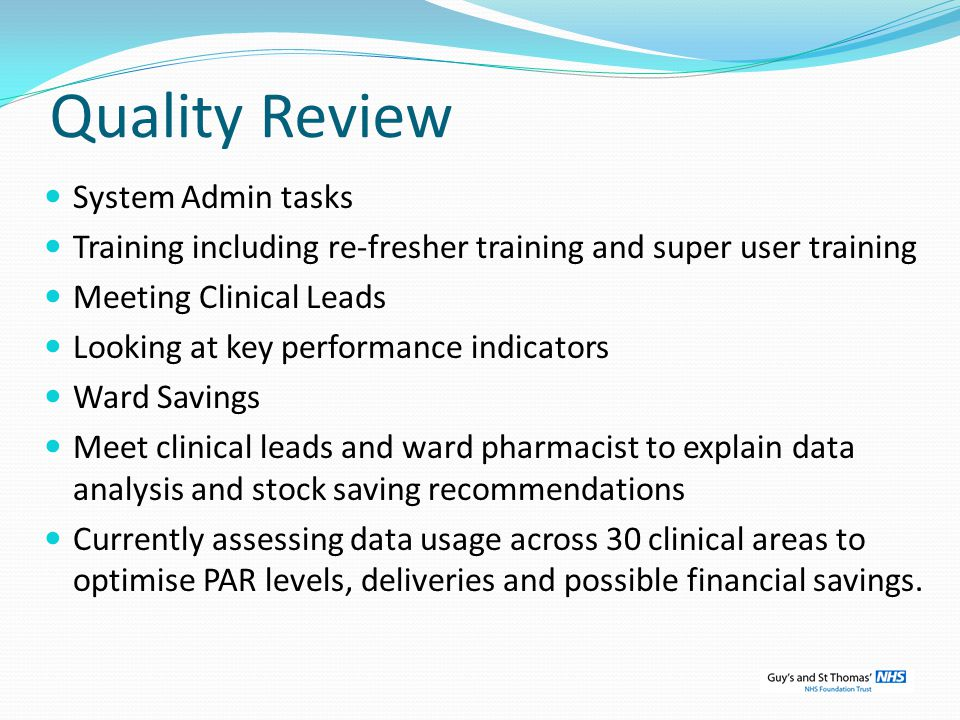 Quality Review System Admin tasks