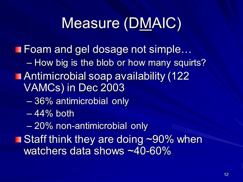 Measure (DMAIC) Foam and gel dosage not simple…