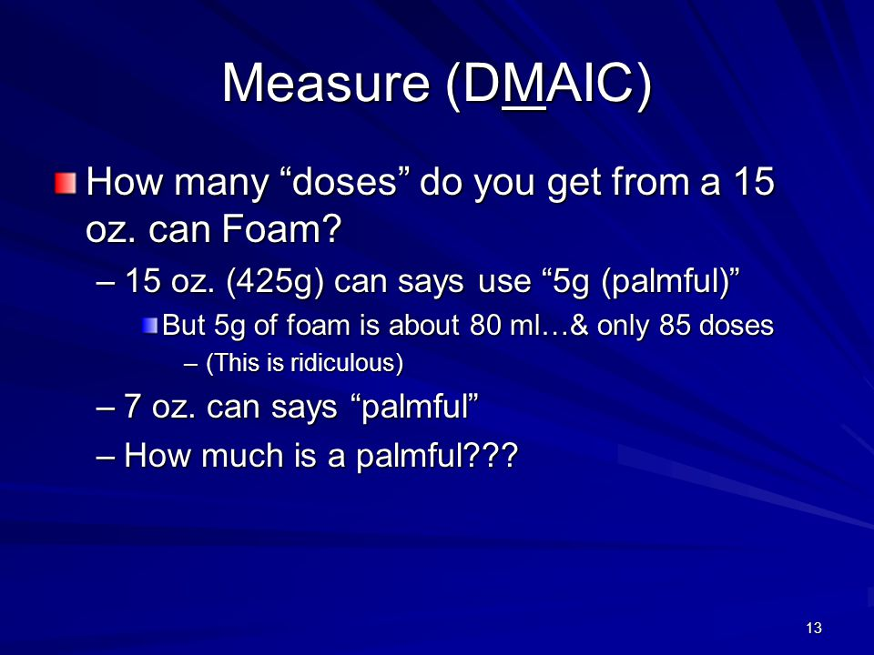 Measure (DMAIC) How many doses do you get from a 15 oz. can Foam