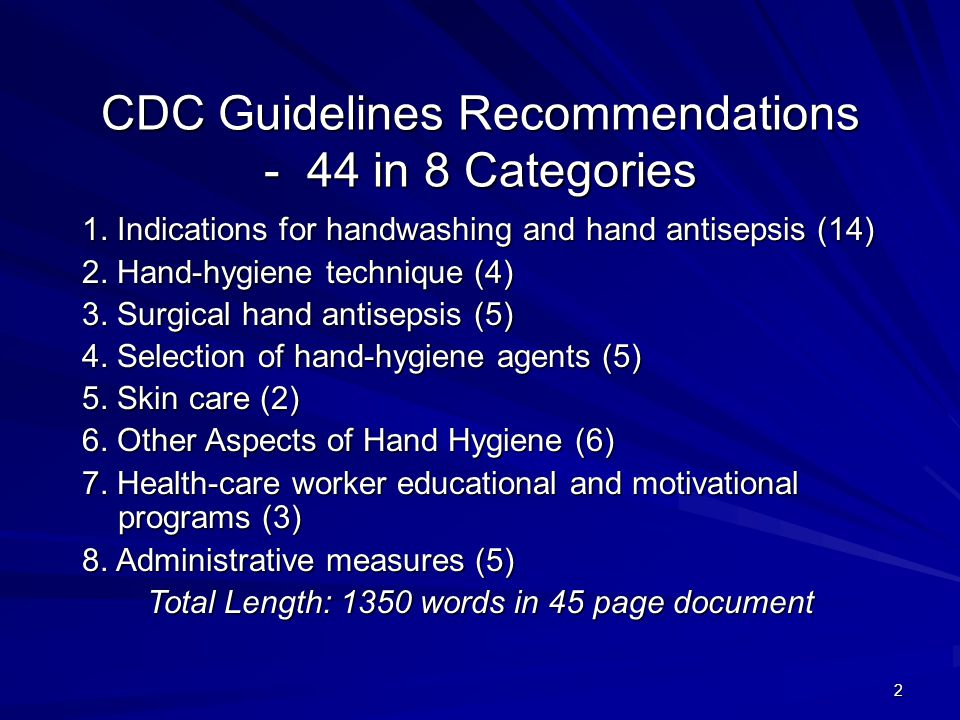 CDC Guidelines Recommendations - 44 in 8 Categories