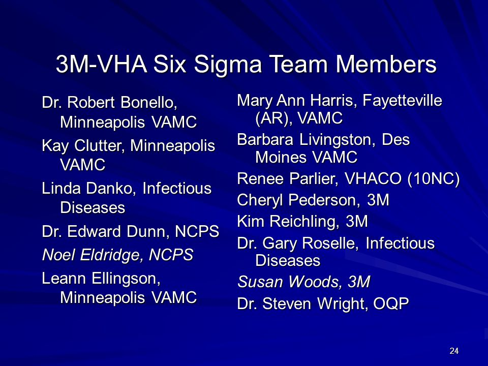 3M-VHA Six Sigma Team Members