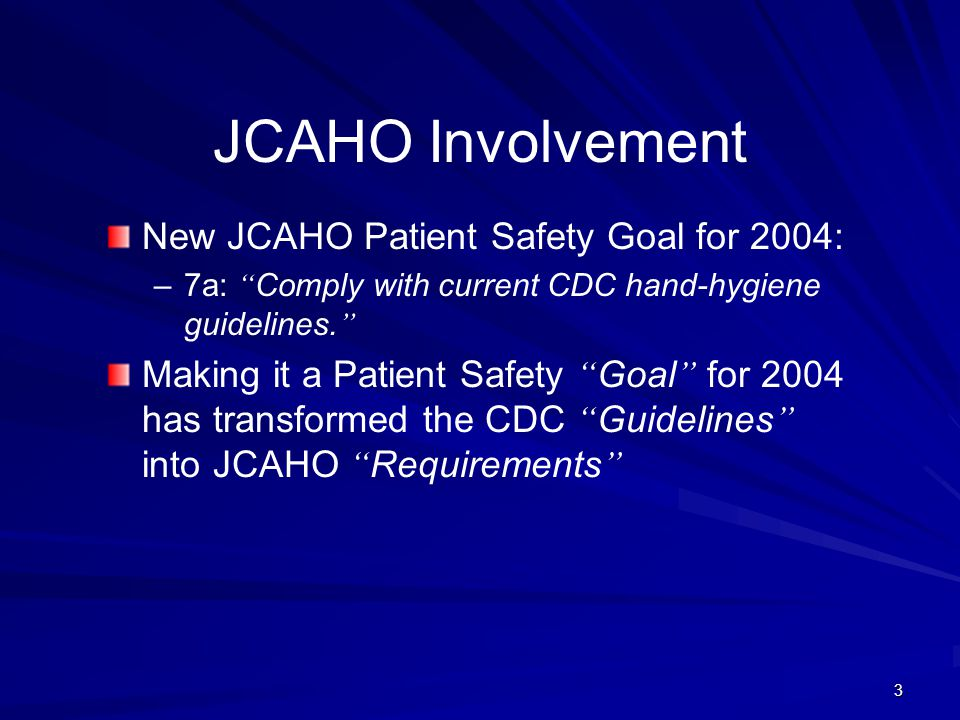 JCAHO Involvement New JCAHO Patient Safety Goal for 2004: