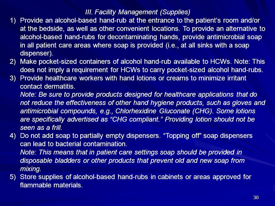 III. Facility Management (Supplies)
