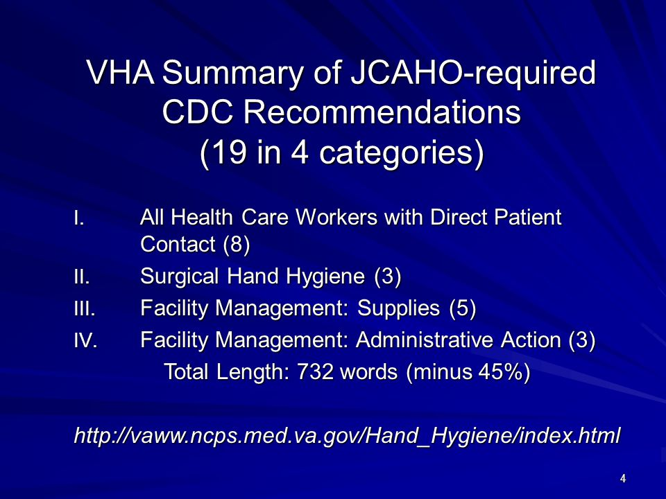 VHA Summary of JCAHO-required CDC Recommendations (19 in 4 categories)