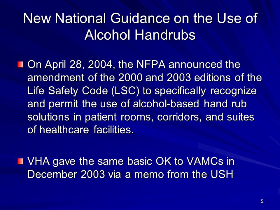New National Guidance on the Use of Alcohol Handrubs