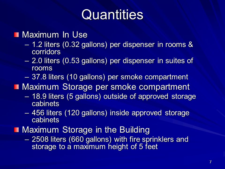 Quantities Maximum In Use Maximum Storage per smoke compartment