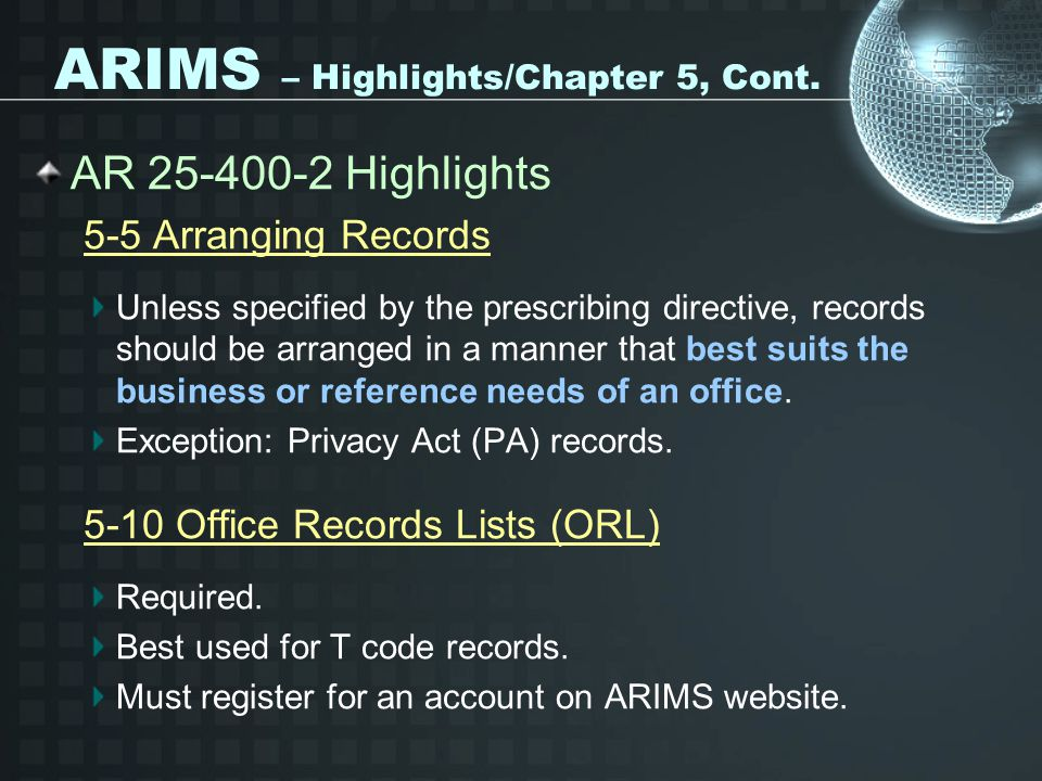 ARIMS – Highlights/Chapter 5, Cont.