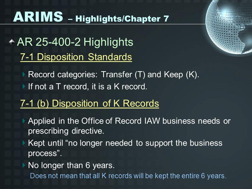 ARIMS – Highlights/Chapter 7