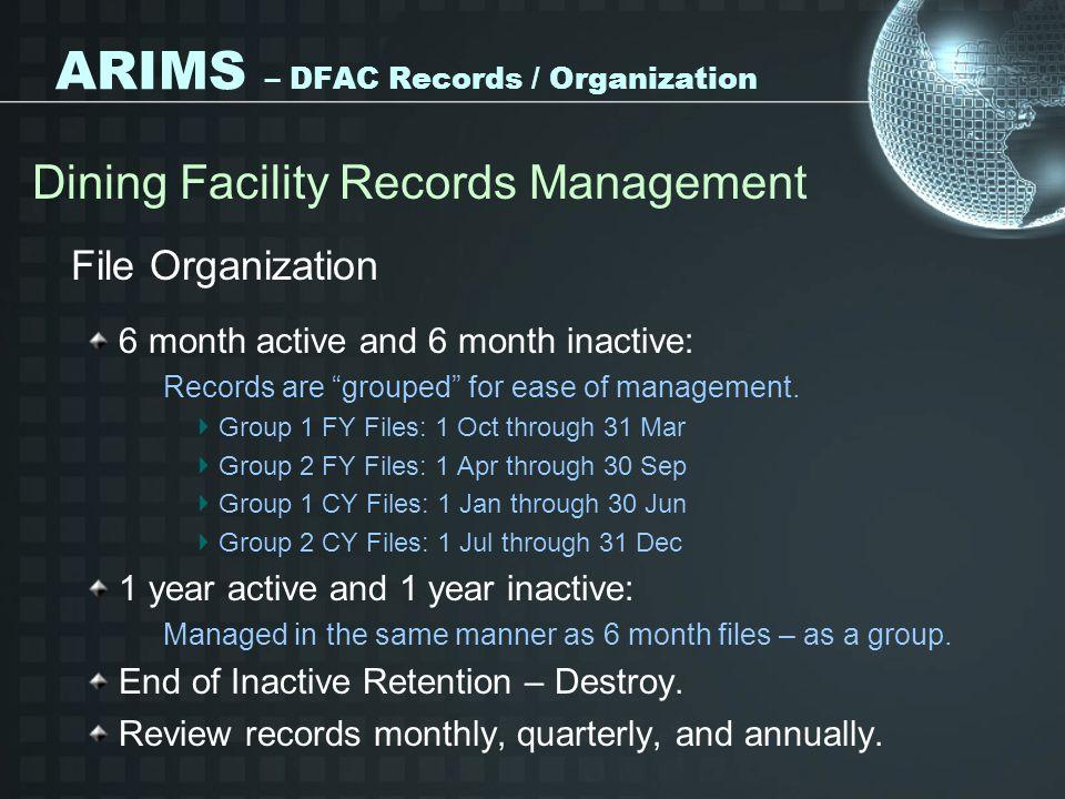 ARIMS – DFAC Records / Organization