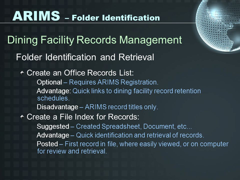 ARIMS – Folder Identification