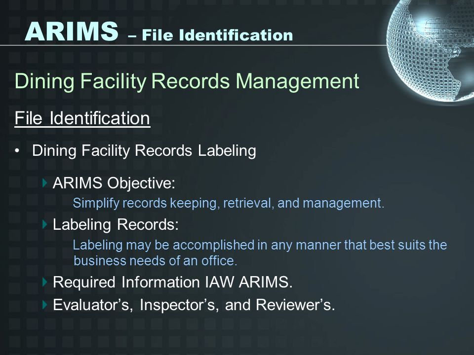 ARIMS – File Identification