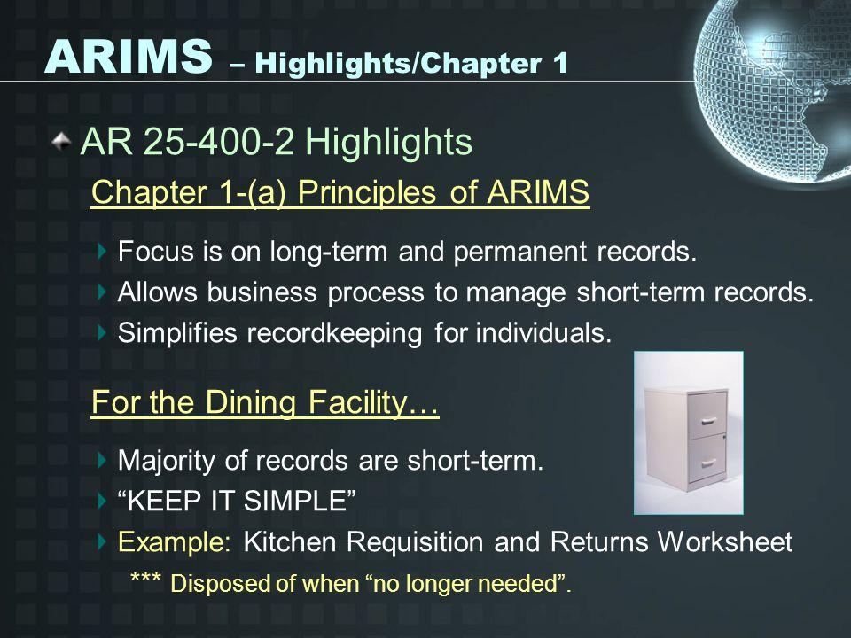 ARIMS – Highlights/Chapter 1