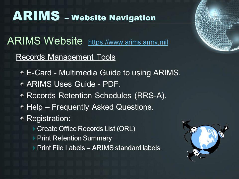 ARIMS – Website Navigation